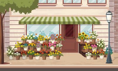 Entrance of a colorful flower shop.
