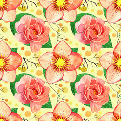 Watercolor floral seamless pattern. hellebore flower and plants on yellow background.
