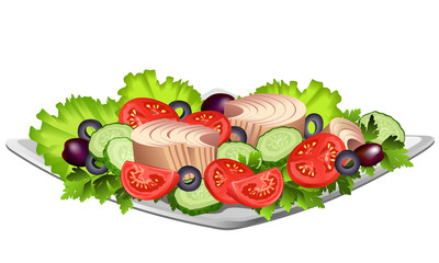 Tuna fish fillet on plate with lettuce leaves, sliced olives, tomatoes and cucumbers. Hand drawn vector illustration on white background.