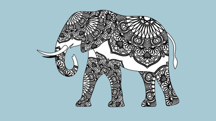 Indian beautiful elephant in zentangle ornament asian style