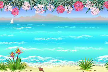 Seamless sea beach landscape with flowers, 4 separated layers ready for parallax effect for game and web design. Hand drawn vector endless looped background.