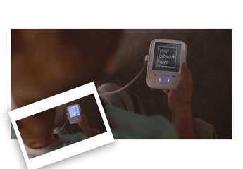 User with a Blood Pressure Device Mockup 1