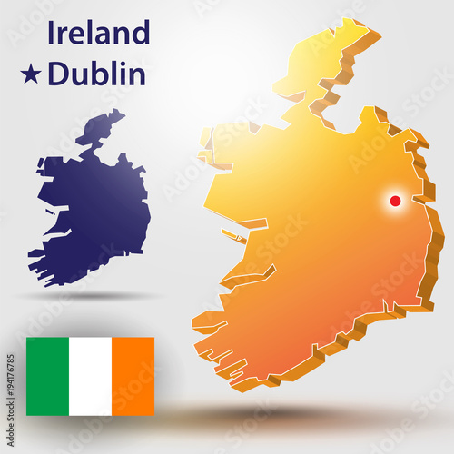 Map Of Ireland Vector.Map Of Ireland Vector Silhouette Of Ireland And The Flag The