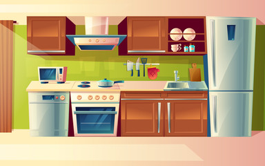 Vector cartoon cooking room interior, kitchen counter with appliances - washing machine, toaster, fridge, microwave, kettle, blender, stove, potholder. Cupboard furniture Household objects