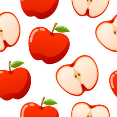 Apple pattern seamless vector on white background