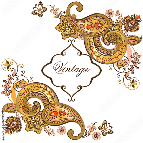 25259d445fb9 Luxurious golden flower pattern with paisley and place for text. Vector  vintage wedding invitation  ornate frame for design template.
