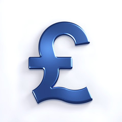 Blue Pound Symbol. 3D Render Illustration