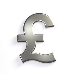 Silver Pound Symbol. 3D Render Illustration