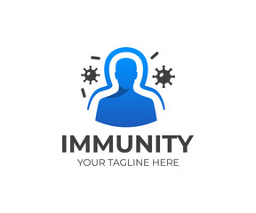 Immunity system logo template. Human immune system vector design. Virus and bacteria illustration