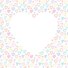 Template of a poster with hand drawn hearts and copyspace. Vector.