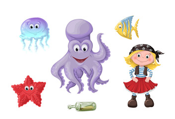 Set of funny cartoon cute children of pirates and sea inhabitants.
