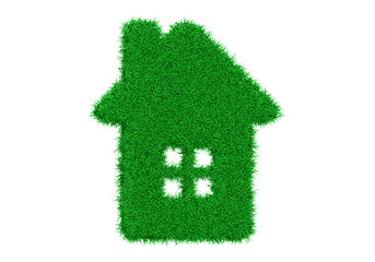 3d rendering silhouette of a house from a green grass with windows