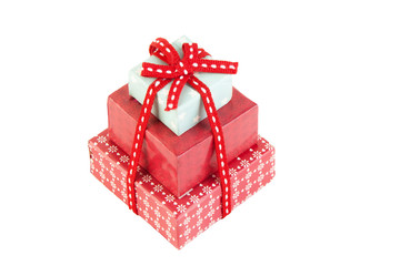 Christmas gift boxes with red bow