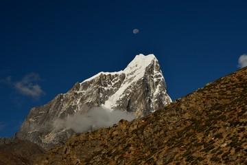 Mt. Taboche with moon, Dusa, Dingboche, Pheriche, Solukhumbu District, Sagarmatha Zone, Himalayas, Nepal, Asia