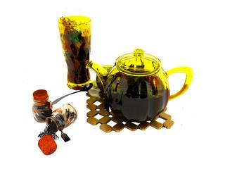 Concept black tea in glassware welding 3d rendering on white background no shadow