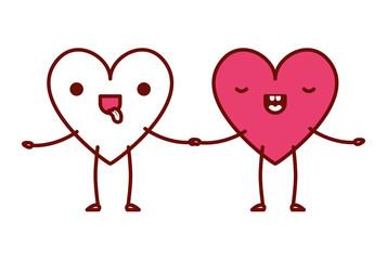 cute hearts love couple kawaii characters vector illustration design