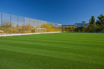 Soccer field with cloudy
