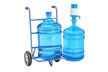 Bottled water delivery concept. 3D rendering