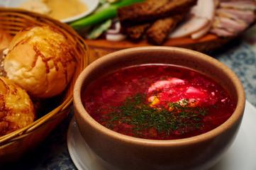 Ukrainian borsch with sour cream