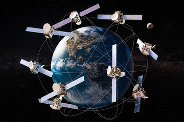 Space satellites in orbits around the Earth Globe, 3D rendering
