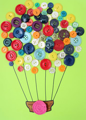balloon of buttons in flight / applique