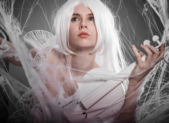 violinist, woman with string musical instrument in a white gothic style