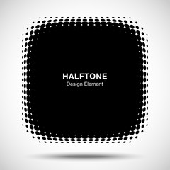 Wall Mural - Convex black abstract vector distorted angle rounded square frame halftone dots logo emblem design element for new technology pattern background. Vector illustration