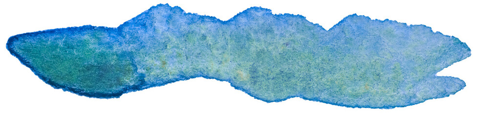 watercolor green blue spot element for design with a paper texture painted by a brush by hand. with a paper texture