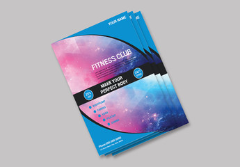 Business Flyer Layout with Blue Accents and Curved Photo Placeholders