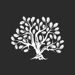 Huge and sacred oak tree silhouette logo badge isolated on dark background.
