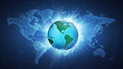 Earth globe flying in white particles on the background of blockchain technology network polygon world map. Climate change concept for global warming poster, placard, card or banner.