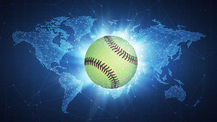 Fastball Ball flying in white particles on the background of blockchain technology network polygon world map. Sport competition concept for fastball tournament poster, placard, card or banner.
