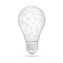 Blockchain technology network polygon idea light bulb isolated on white background. Global cryptocurrency blockchain business banner concept. Lamp symbolize innovation, invention, effective thinking.