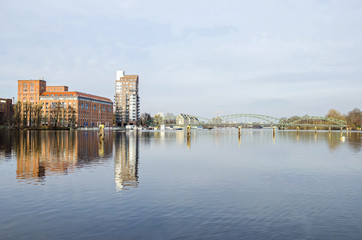 Berlin district Spandau with Frieda Arbheim Promenade and Eiswerderbruecke
