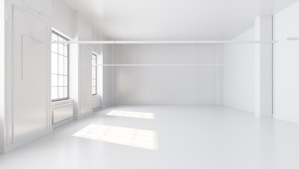 Modern white interior with blank concrete wall and windows. Mock up, 3D illustration