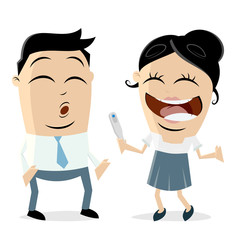 woman telling man that she is pregnant clipart