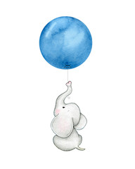 Baby elephant with blue balloon