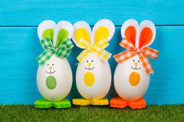 Easter eggs cute bunny. Funny decoration.