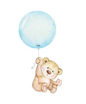 Cute Teddy bear flying on blue balloon