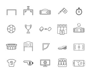 Set of soccer or football line icon.