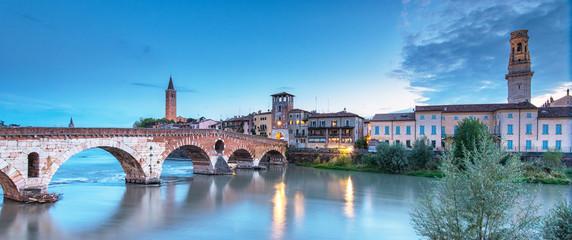 The famous roman Ponte Pietro bridge in Verona, Italy
