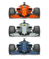 Fotobehang F1 Racing car with protection front view. Vector flat color illustration