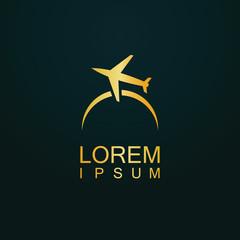 gold travel plane company logo