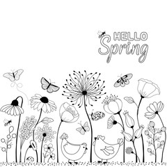 HELLO Spring. Card with cute cartoon chicken between flowers