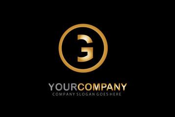 Letter G Golden Circle Design