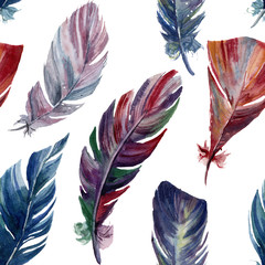Watercolor pattern with rainbow feathers. Hand painted vibrant boho illustration isolated on white background. Illustration with bird feather for design or fabric.