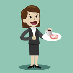 Businesswoman drinking coffee with donat during the break - vector illustration