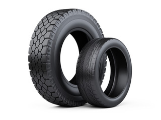 Set of two tires. New car wheels for cars and trucks.