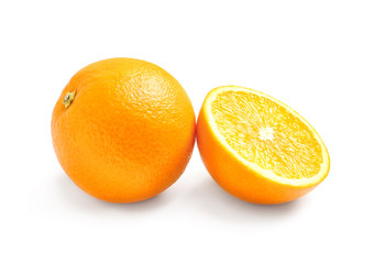 Juicy ripe oranges on white background