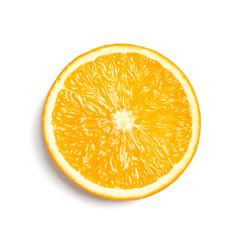 Slice of juicy ripe orange on white background